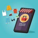 网络购物商店,时髦商品 在流动屏幕上 免版税库存照片