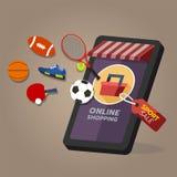 网络购物商店,运动器材命令 在流动屏幕上 免版税库存图片