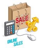 网络购物概念、网商店、互联网销售、在白色与个人计算机老鼠和百分之标志隔绝的商店袋子 传染媒介3d 皇族释放例证