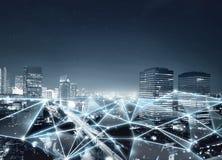 网络连接和互联网通信地图  免版税库存照片