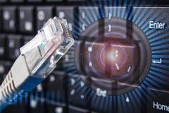网络连接的概念 在网络的审查 数据保护 库存图片