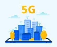 网络5G覆盖面 城市无线互联网、第五代网络和高速都市5G连接传染媒介 库存例证