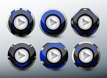 网蓝色按钮 免版税库存图片