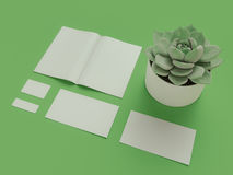 网设计师属性绿色背景的 顶视图 平的位置 3d翻译 高分辨率 免版税图库摄影