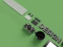 网设计师属性绿色背景的 顶视图 平的位置 3d翻译 高分辨率 免版税库存图片