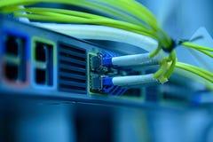 网络光纤缆绳和插孔 库存照片