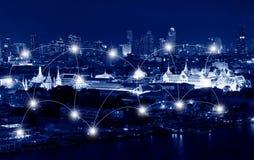网络和连接鲜绿色菩萨临时雇员的技术概念 免版税库存图片