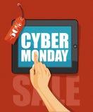 网络在平的设计的星期一海报在红色背景 免版税图库摄影