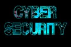 网络安全在黑背景的激光文字 库存图片