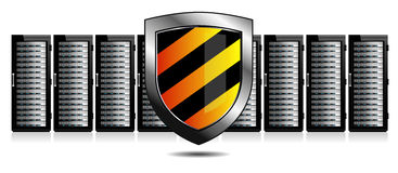 网络安全-服务器和盾保护 免版税图库摄影