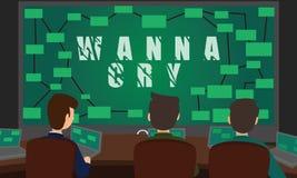 网络战斗与WannaCry Ransomware攻击的安全小组 库存照片