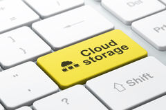网络概念:云彩网络和云彩存贮在计算机上 库存照片