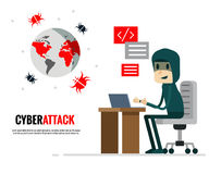 网络攻击概念 送病毒攻击世界的黑客 库存图片