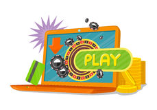 网络游戏横幅膝上型计算机赌博娱乐场轮盘赌的赌轮 库存例证