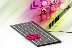 网络电子邮件与一个按钮的通信概念在键盘 库存照片