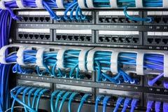 网络盘区、开关和互联网在数据中心缚住 黑开关和蓝色以太网电缆,数据中心概念 免版税库存图片