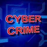 网络罪行标志显示偷窃间谍软件和安全 免版税图库摄影