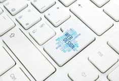 网络设计企业概念词云彩进入按钮或钥匙o 免版税库存图片