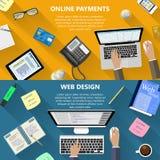 网络设计和网上付款概念 图库摄影