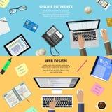 网络设计和网上付款概念 免版税库存照片