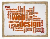 网络设计在艺术帆布的词云彩 库存图片