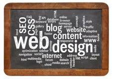 网络设计在黑板的词云彩 免版税库存照片
