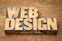 网络设计在活版木头类型的词摘要 库存图片