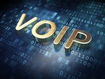 网络设计概念:在数字式背景的金黄VOIP 免版税库存照片