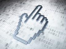 网络设计概念:在数字式背景的银色老鼠游标 免版税库存照片