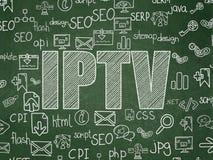 网络设计概念:在校务委员会的IPTV 免版税库存图片