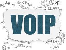 网络设计概念:在被撕毁的纸背景的VOIP 免版税图库摄影