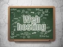网络设计概念:网络主持在校务委员会 免版税库存图片
