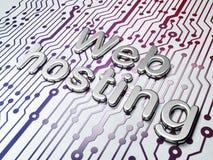 网络设计概念:金黄网络主持在电路板背景 库存图片