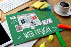 网络设计软件媒介万维网和网站设计敏感网 库存图片