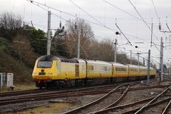 网络路轨HST在WCML的测试火车在Carnforth 库存照片