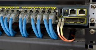 网络转接插孔和很多缆绳 免版税库存图片