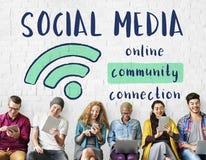 网络通信连接分享想法概念 免版税库存照片