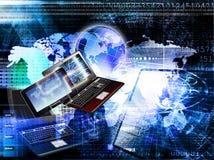 网络 通信 自由计算机Wi-Fi 一代技术 库存图片