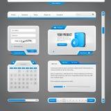 网UI控制元素灰色和蓝色在黑暗的背景 免版税库存照片