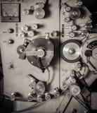 罕见的工业戏院35mm电影打印机细节葡萄酒黑色a 图库摄影