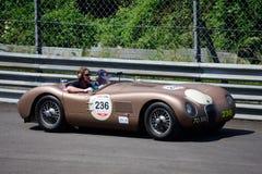 罕见的捷豹汽车C型1952年在Mille Miglia 免版税库存照片
