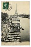 罕见的葡萄酒明信片有在艾菲尔铁塔的看法从Trocadero在巴黎,法国 免版税图库摄影