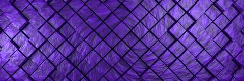 紫罗兰色七高八低的立方体背景横幅 向量例证