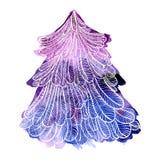 紫罗兰色云杉的树的水彩例证与手拉的华丽白色概述的 传染媒介在白色backgr隔绝的设计元素 免版税库存照片