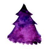 紫罗兰色圣诞树的水彩例证 传染媒介在白色背景隔绝的设计元素 免版税库存图片