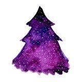 紫罗兰色圣诞树的水彩例证 传染媒介在白色背景隔绝的设计元素 库存照片