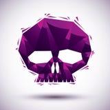 紫罗兰色在3d现代样式做的头骨几何象,最好我们的 库存图片