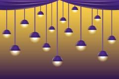 紫罗兰色天花板灯 免版税图库摄影