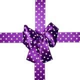 紫罗兰色弓和丝带与由丝绸做的白色圆点 库存照片
