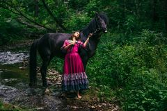 紫罗兰色礼服的美丽的吉普赛人 库存照片